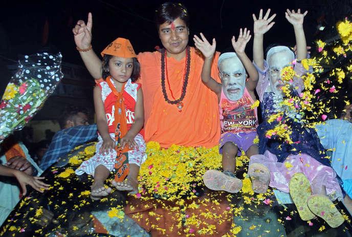 Pragya Singh Thakur, candidate du Parti du peuple indien (BJP, au pouvoir), à Bhopal, le 30 avril.