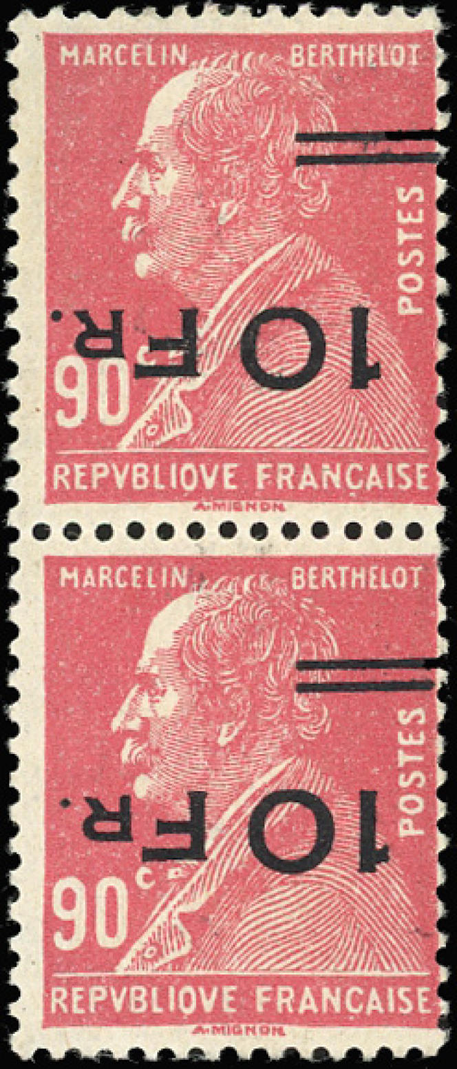 Une de svedettes de la collection de poste aérienne de France: les surcharges de« l'Ile-de-France»: 75000 euros pour cette paire.