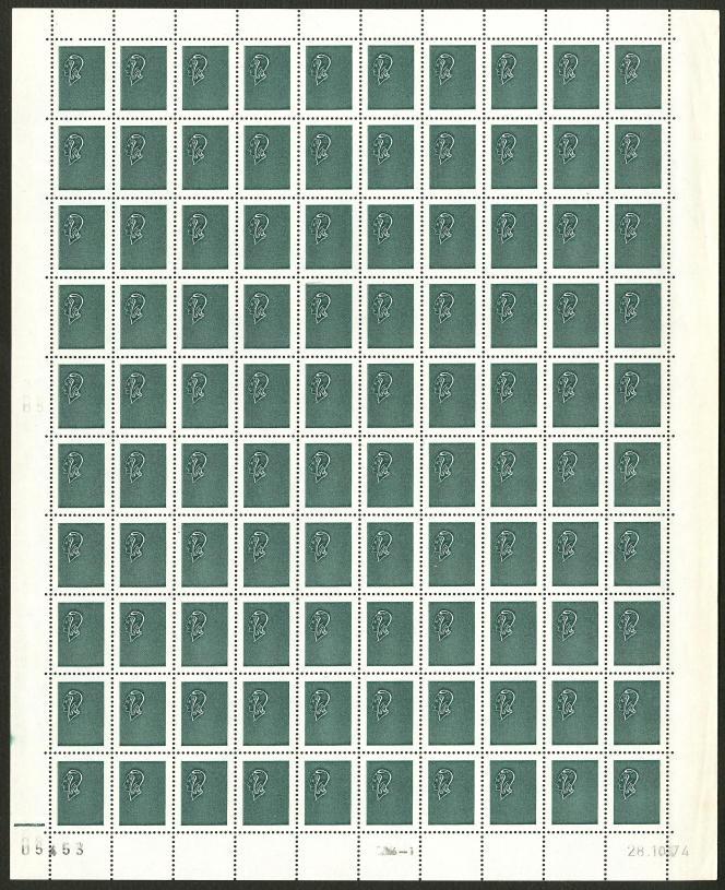 Mise à prix 10000 euros pour cette feuille de projet d'un timbre d'usage courant daté de 1974, créé par Pierre Béquet.