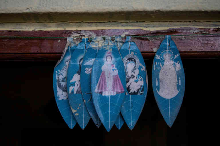 Christian decorations hang on the door to the house of brothers Bevon, aged nine, Clavon, aged six, and 11-month-old Avon, in Colombo, Sri Lanka, May 8, 2019. The three brothers and their parents were killed during the during Easter Sunday bombings at St. Anthony Church in Colombo, Sri Lanka.