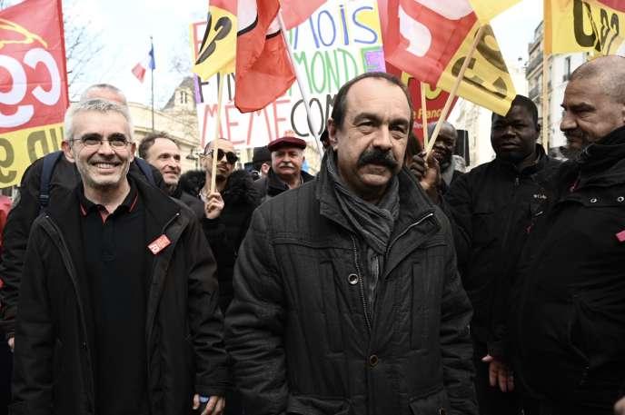 Philippe Martinez, le numéro un de la CGT, le 19mars à Paris.