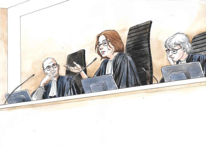 Cécile Louis-Loyant et ses assesseurs, lors du procès France Télécom.