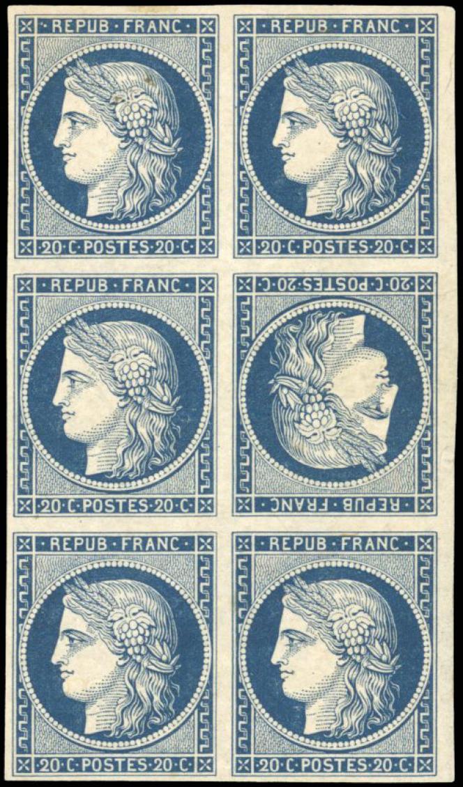Bloc de six d'un timbre non émis, 60000 euros minimum.