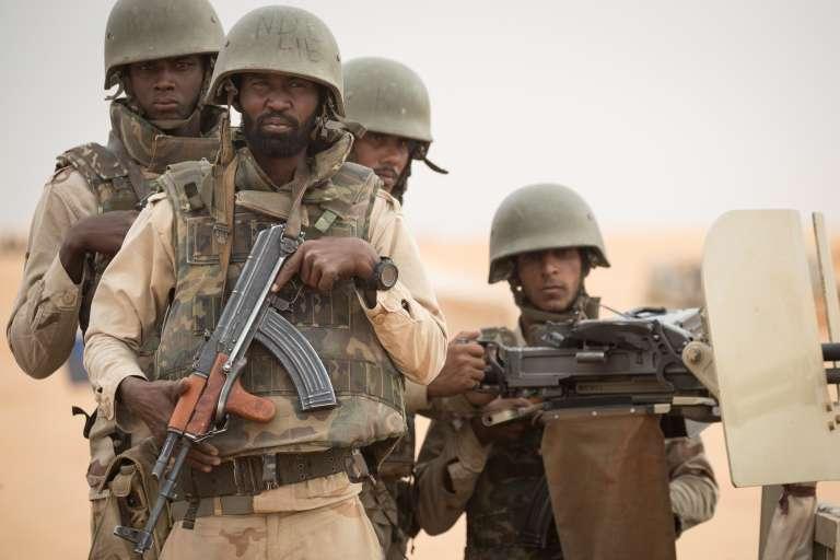 Soldats mauritaniens de la Force conjointe G5 Sahel en novembre 2018, à la frontière malienne.