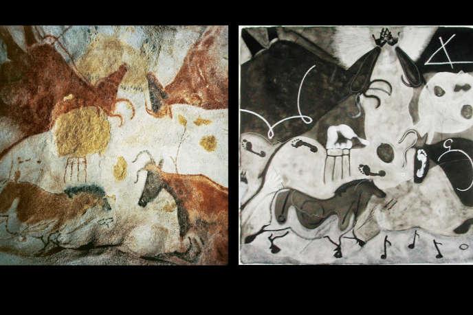 Montage : détail d'une peinture pariétale représentant des aurochs et une oeuvre de la série