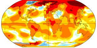 Écart des températures du mois d'avril 2019 à la moyenne climatologique mesurée sur 1951/1980.