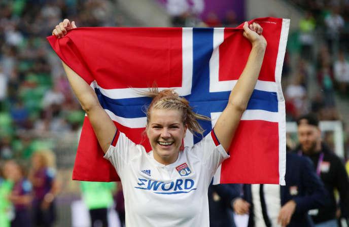 L'attaquante star de l'Olympique lyonnais, Ada Hegerberg, n'a plus joué avec la sélection norvégienne depuis 2017. Ici avec l'OL, le 18 mai 2019.