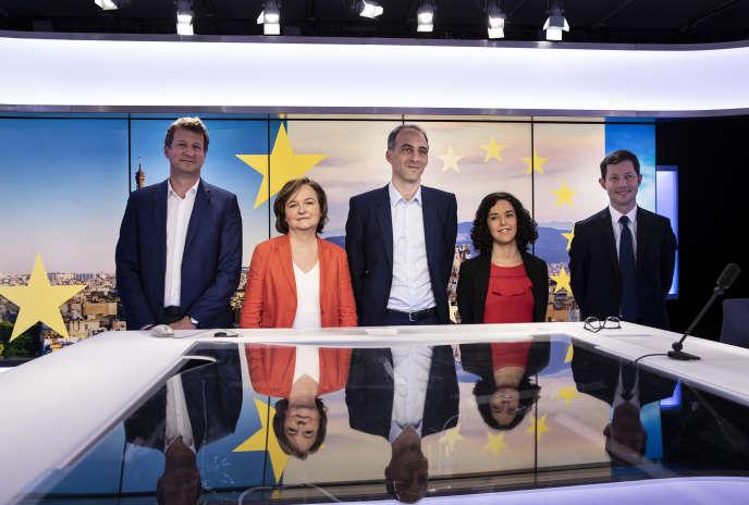 Yannick Jadot (EELV), Nathalie Loiseau (LRM), Raphael Glucksmann (PS-Place publique), Manon Aubry (LFI) et François-Xavier Bellamy (LR) le 9avril 2019.