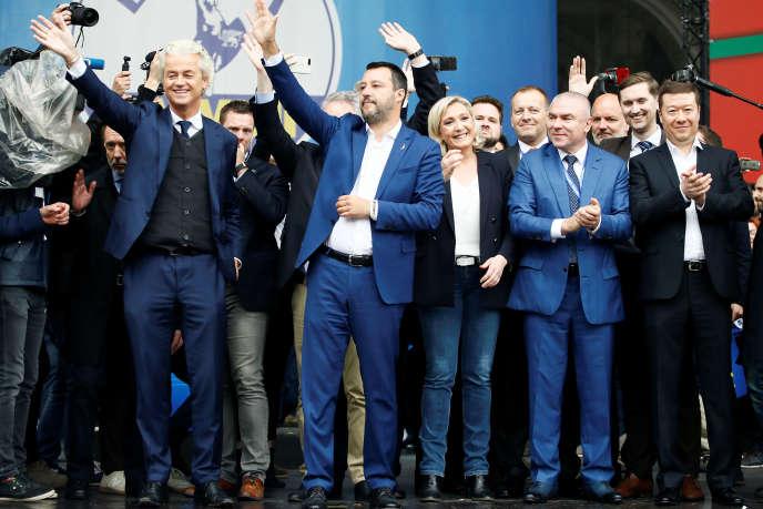 Geert Wilders, Matteo Salvini, Marine Le Pen,, Veselin Mareshki, Tomio Okamura, Milan, Italie le 18 mai 2019.