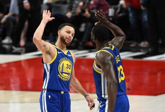 Stephen Curry et Draymond Green contre Portland, le 18 mai 2019.