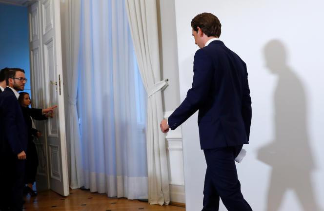 Le chancelier autrichien, Sebastian Kurz, lors d'une conférence de presse à Vienne, le 18 mai.