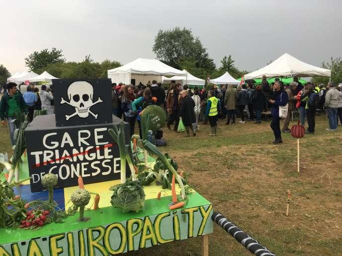 A Gonesse (Val-d'Oise), dimanche 19 mai, lors du rassemblement des opposants au projet d'Europacity.