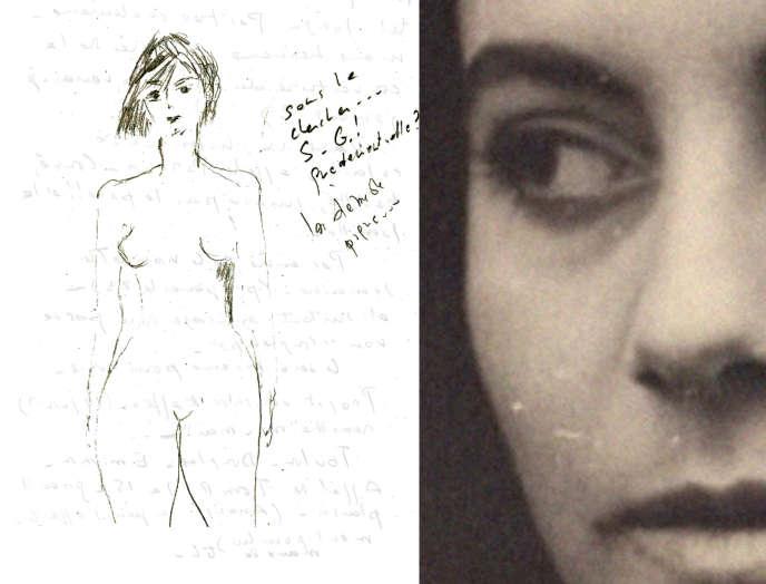 Anne-Marie Albiach (à droite) et l'un de ses dessins, reproduit dans« La Mezzanine» (à gauche).