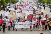 Manifestation contre la nouvelle loi sur l'avortement, àMontgomery, en Alabama, le 19 mai.
