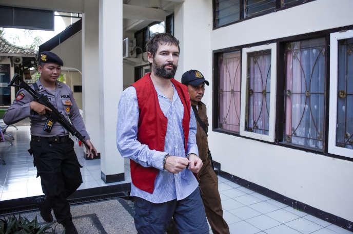 Felix Dorfin, condamné à mort pour trafic de drogue par la justice indonésienne, le 20 mai à Mataram, sur l'île de Lombok.
