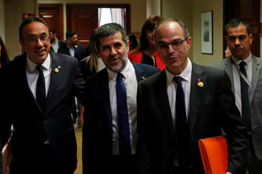 Jordi Turull, Jordi Sanchez etJosep Rull, le 20 mai, à Madrid.