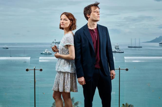 Valerie Pachner et August Diehl, les acteurs du film de Terrence Malick, «Une vie cachée», sur la Croisette, le 19 mai.