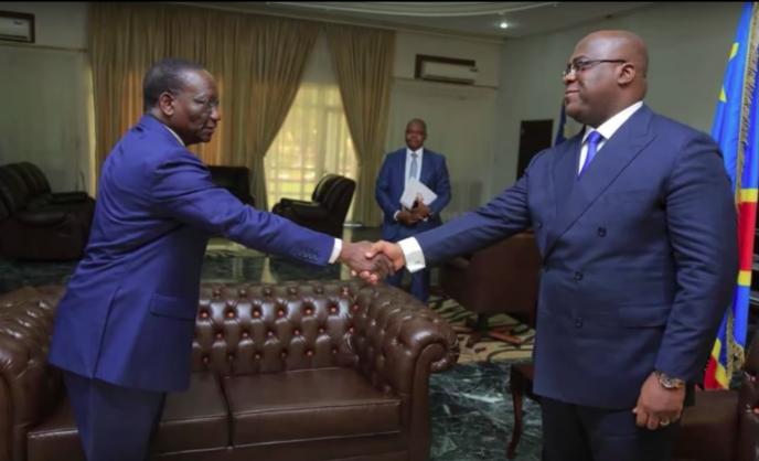 Le président Félix Tshisekedi (à droite) et le nouveau Premier ministre Sylvestre Ilunga Ilunkamba (à gauche).