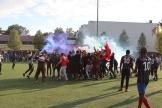 Le Maroc célèbre sa victoire (5 à 2) contre l'équipe réunissant les deuxCongo, le 11 mai 2019, austade Jean-Moulin d'Evry.