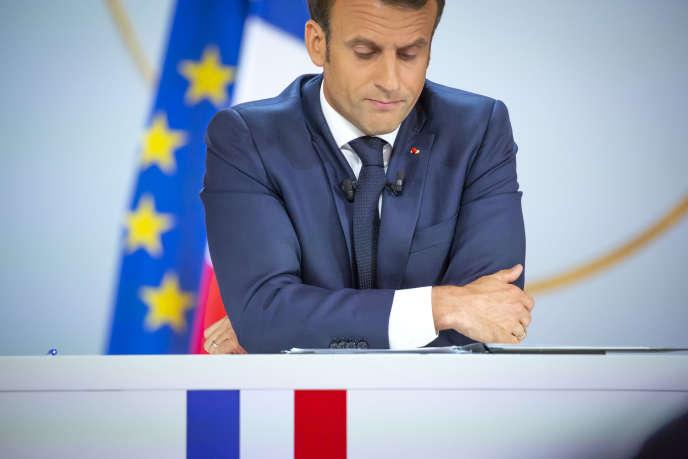 Emmanuel Macron, président de la République, donne une conférence de presse au palais de l'Elysée à Paris, le 25 avril.