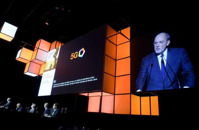 Discours du patron d'Orange, Stéphane Richard, lors de l'assemblée générale du groupe, à Paris, mardi 21 mai.
