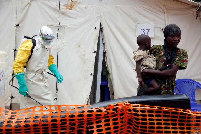 Un agent de santé vaporise un désinfectant dans un centre de traitement Ebola de Butembo, ville de l'est de la RDC, le 27 mars 2019.