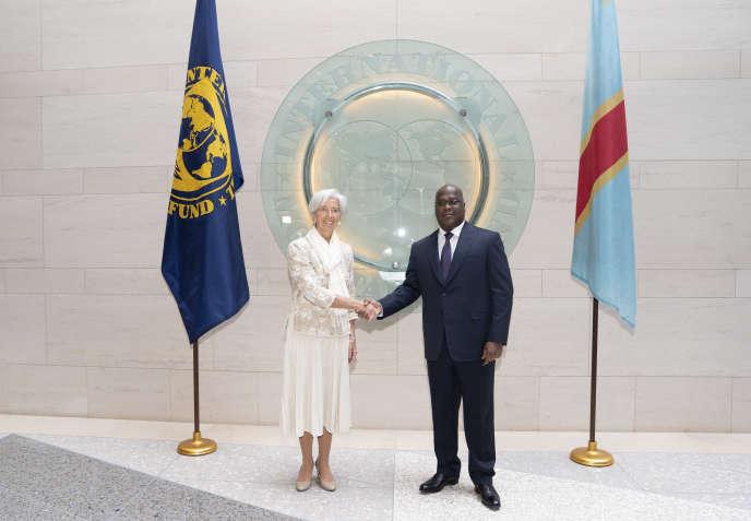 La directrice du Fonds monétaire international, Christine Lagarde, rencontre le président de RDC, Félix Antoine Tshisekedi, le 5 avril à Washington, dans les locaux du FMI.