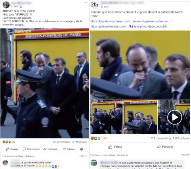 De nombreux internautes ont partagé des images d'Emmanuel Macron et Edouard Philippe prétendument« écroulés de rire» en arrivant à Notre-Dame de Paris, sur la base d'images détournées de leur contexte.