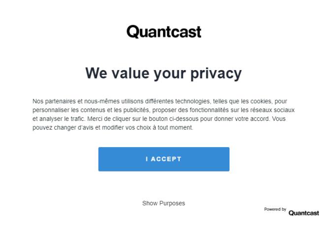 La fenêtre pop-up de Quantcast sur le site de Quantcast.