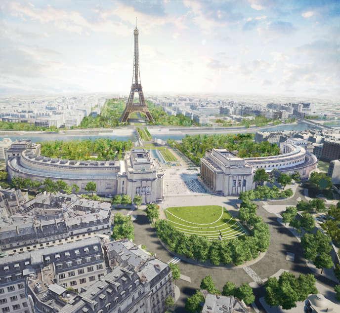 Vue du projet de réaménagement du quartier de la tour Eiffel.
