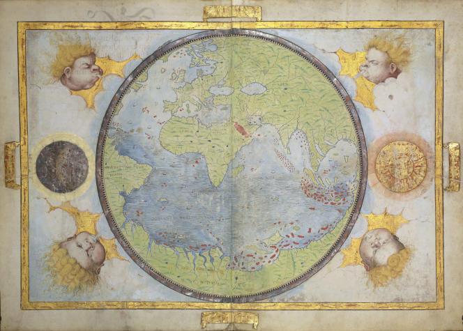 Mappemonde circulaire représentant l'hémisphère portugais, œuvre de Lopo Homen, 1519. Extrait de l'« Atlas Miller ». Visible à l'exposition « Le Monde en sphères », BNF François-Mitterrand, Paris 13e.
