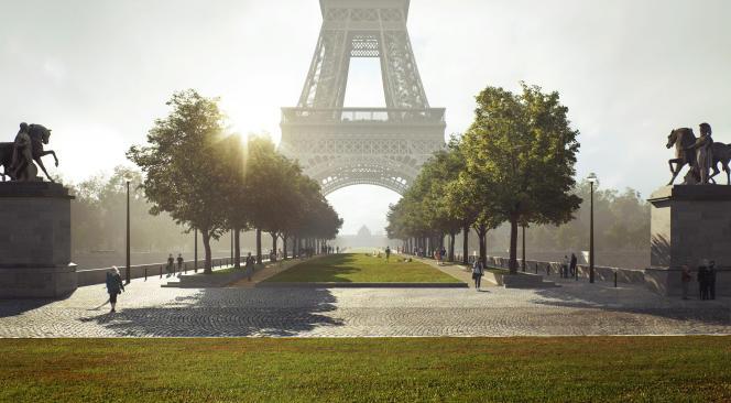 Le Pont d'Iena et sa promenade plantée, tels qu'imaginés dans le projet OnE de l'équipe menée par l'architecte paysagiste Kathryn Gustafson.