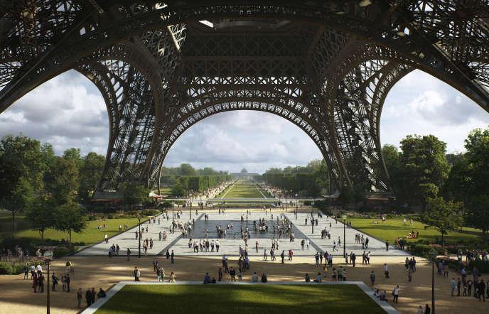 Parvis de la Tour Eiffel tel qu'imaginé dans le projet OnE de l'équipe menée par l'architecte paysagiste Kathryn Gustafson.
