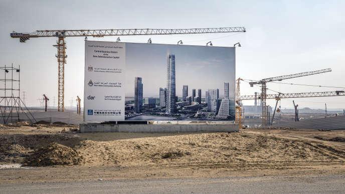 Vue d'artiste du futur centre financier en banlieue du Caire, où la nouvelle capitale, en mars 2019, est en cours de construction.