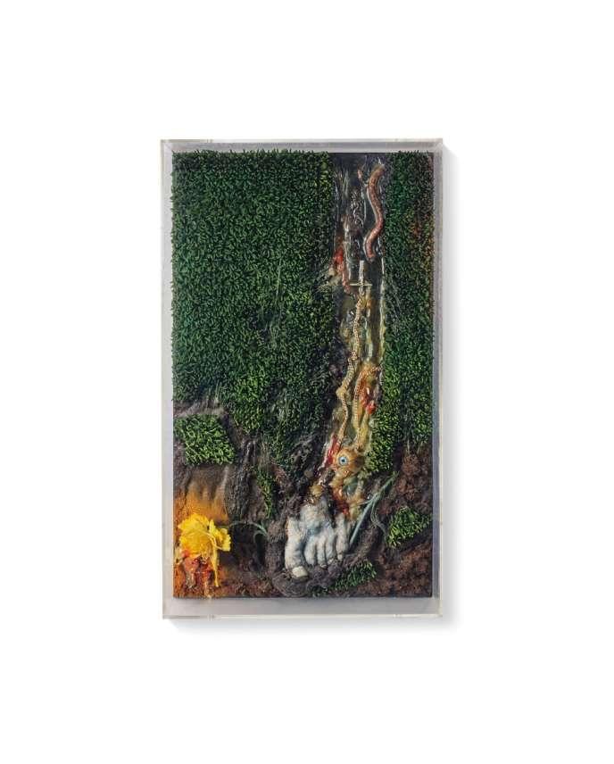 « Your Portrait », par Tetsumi Kudo (1935-1990). Technique mixte sur panneau. Format 55,5 cm x 33 cm x 9,5 cm. Réalisé en 1974. Signé et daté, Estimation : 15000-20000 euros.