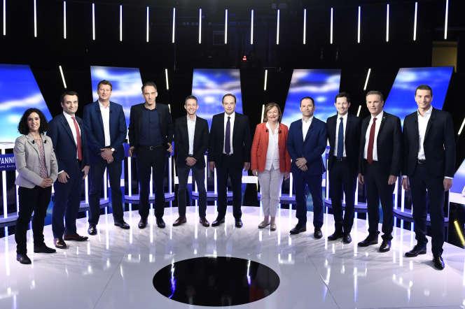 Les principaux candidats têtes de liste au scrutin européen, sur le plateau de BFM-TV, à LaPlaine Saint-Denis, le 23 mai.
