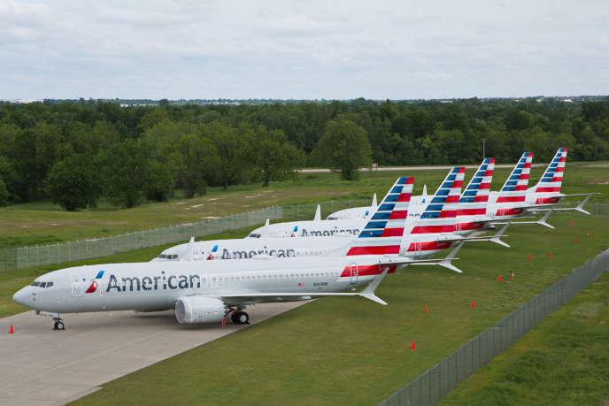 Les avions 737 MAX de la compagnie American Airlines immobilisés à Tulsa dans l'Oklahoma, le 10 mai.