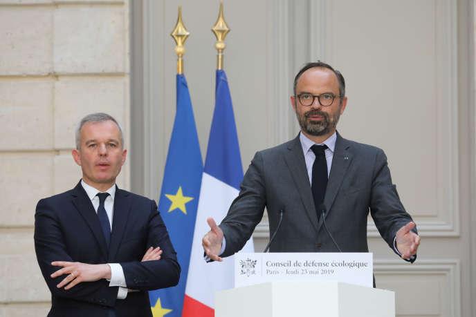 Francois de Rugy, ministrede la transition écologique et solidaire et le premier ministre, Edouard Philippe, le 23 mai à l'Elysée.