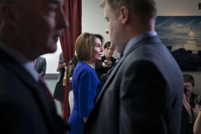 Nancy Pelosi s'adresse à la presse, après son rendez-vous avec Donald Trump à la Maison Blanche à Washington, le 22 mai.