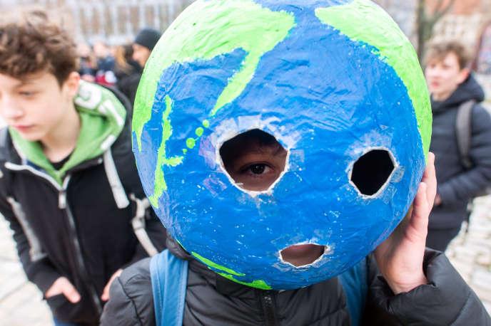 A Belin, le 15 mars, lors d'une manifestation de jeunes pour le climat.