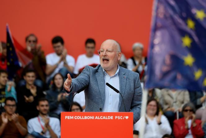 Le leader travailliste et commissaire européen FransTimmermans lors d'un meeting à Barcelone (Espagne), le 23 mai.