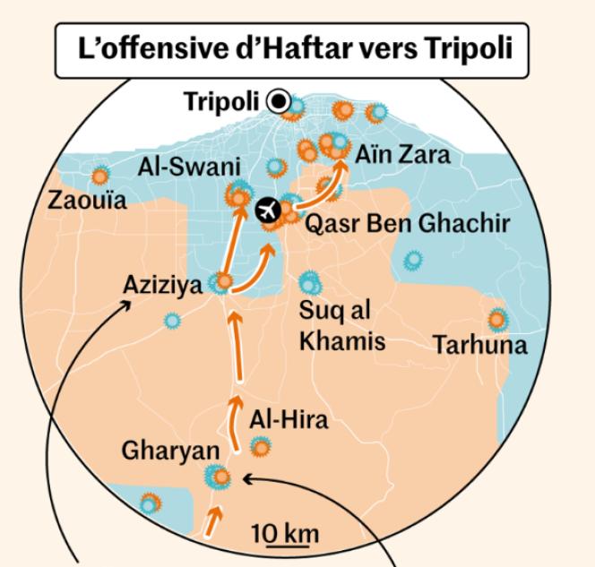 L'offensive du maréchal Haftar vers Tripoli, en Libye.