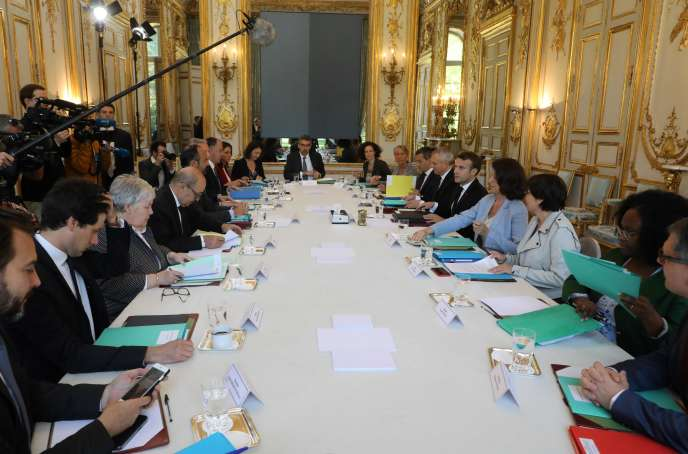 Lors du Conseil de défense écologique, à l'Elysée, le 23 mai.