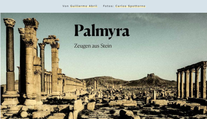 Le reportage de guerre« Palmyre, l'autre côté», par Guillermo Abril et Carlos Spottorno, Prix de l'innovation.