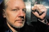 Julian Assange, à travers la vitre du véhicule qui le conduit devant un tribunal de Londres, le 1er mai 2019.