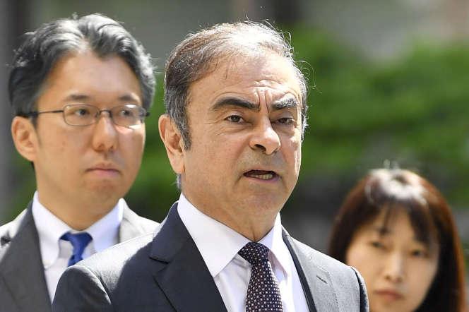 L'ex-PDG de Renault-Nissan arrive au tribunal de Tokyo le 23 mai 2019.