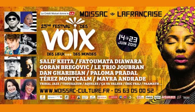 Affiche du Festival des voix, des lieux… des mondes à Moissac (Tarn-et-Garonne).