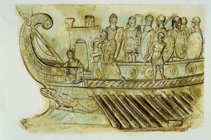 Galère militaire romaine. Copie à l'aquarelle réalisée en 1975 par l'historien, archéologue et illustrateur Peter Connolly.