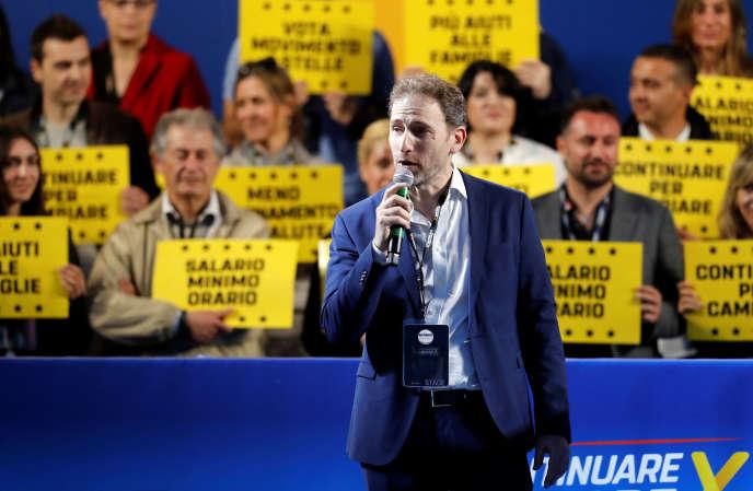 Davide Casaleggio, le fils de Gianroberto Casaleggio, cofondateur du Mouvement 5 étoiles, le 24 mai 2019 à Rome, lors d'un meeting de campagne avant les élections européennes.