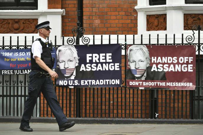 Rassemblement de soutien à Julian Assange à Londres (Royaume-Uni), le 20 mai.